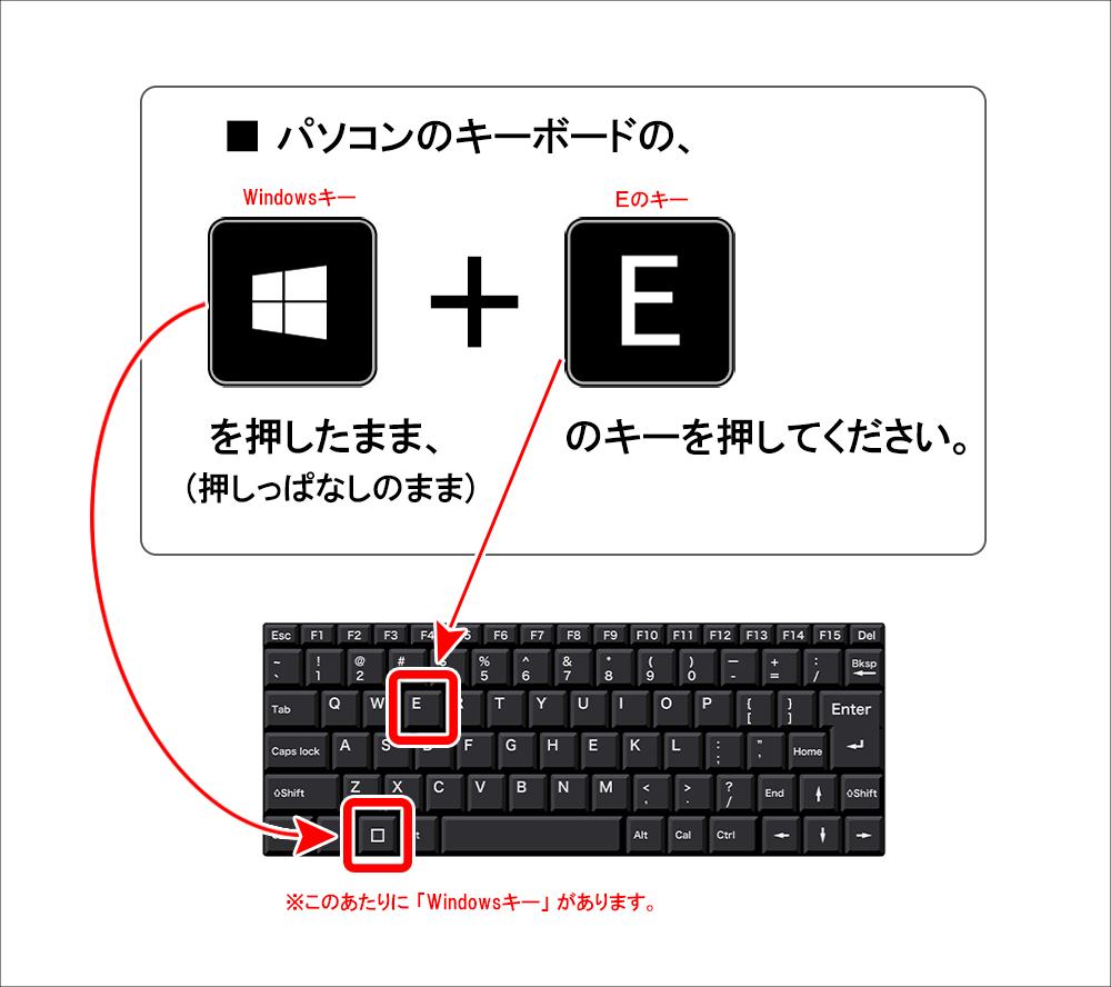 「Windowsキー」を押しながら「Eのキー」を押す